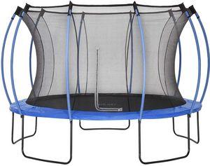 Plum - trampoline junior avec protection réversible bleu  - Trampolino Elastico