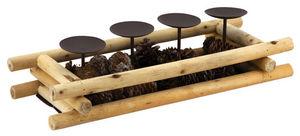 Aubry-Gaspard - bougeoir en bois avec pommes de pin - Portacandela