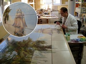 ART DECO CERAM - paysage exotique avec navire - Piastrella A Mosaico
