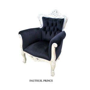 DECO PRIVE - fauteuil baroque argente modele prince en velours - Poltrona