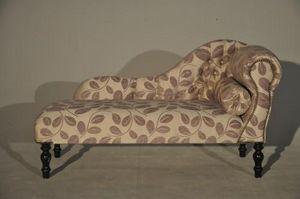 Demeure et Jardin - méridienne velours feuilles mauves - Chaise Longue