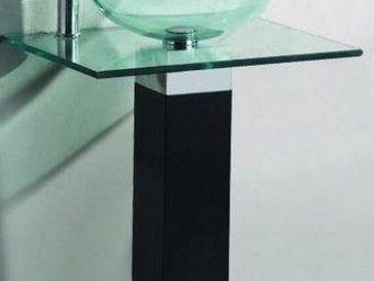 UsiRama.com - meuble salle de bain noir bois massif aobo 60cm - Mobile Bagno