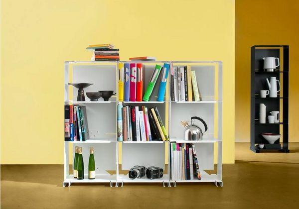 9b libreria aperta bianco acciaio l 135 cm p 25 cm h 106