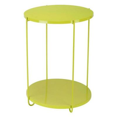 La Chaise Longue - Tavolino rotondo per esterni-La Chaise Longue-Guéridon en métal vert avec 2 plateaux amovibles